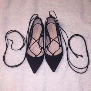 Pointy lace up flats